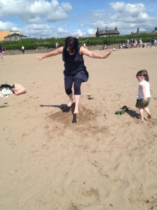 Practicing for the fire jump on Troon beach yesterday